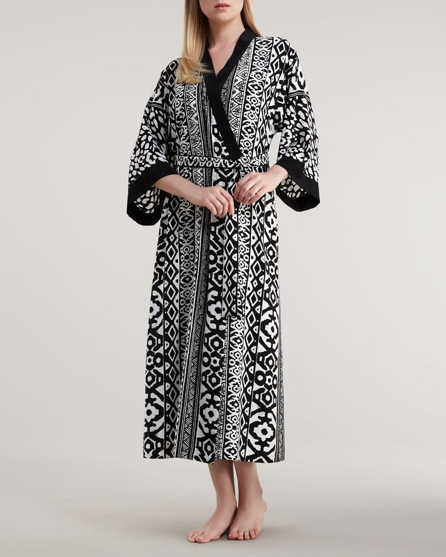 oscar de la renta long modern geometric print robe in. Black Bedroom Furniture Sets. Home Design Ideas