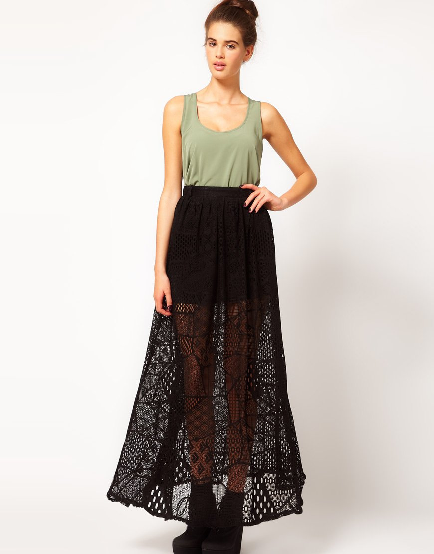 River island Chelsea Girl Lace Maxi Skirt in Black | Lyst