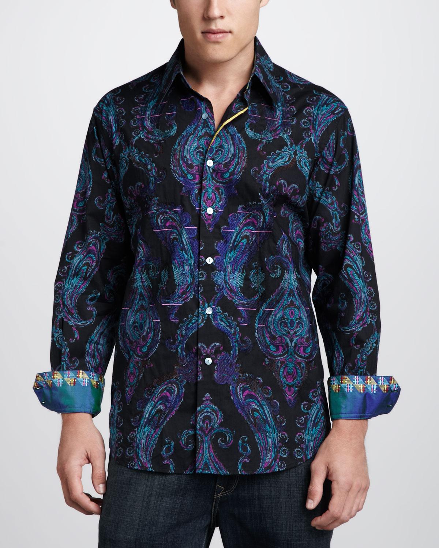 Robert graham paisley sport shirt in blue for men lyst for Robert graham sport shirt