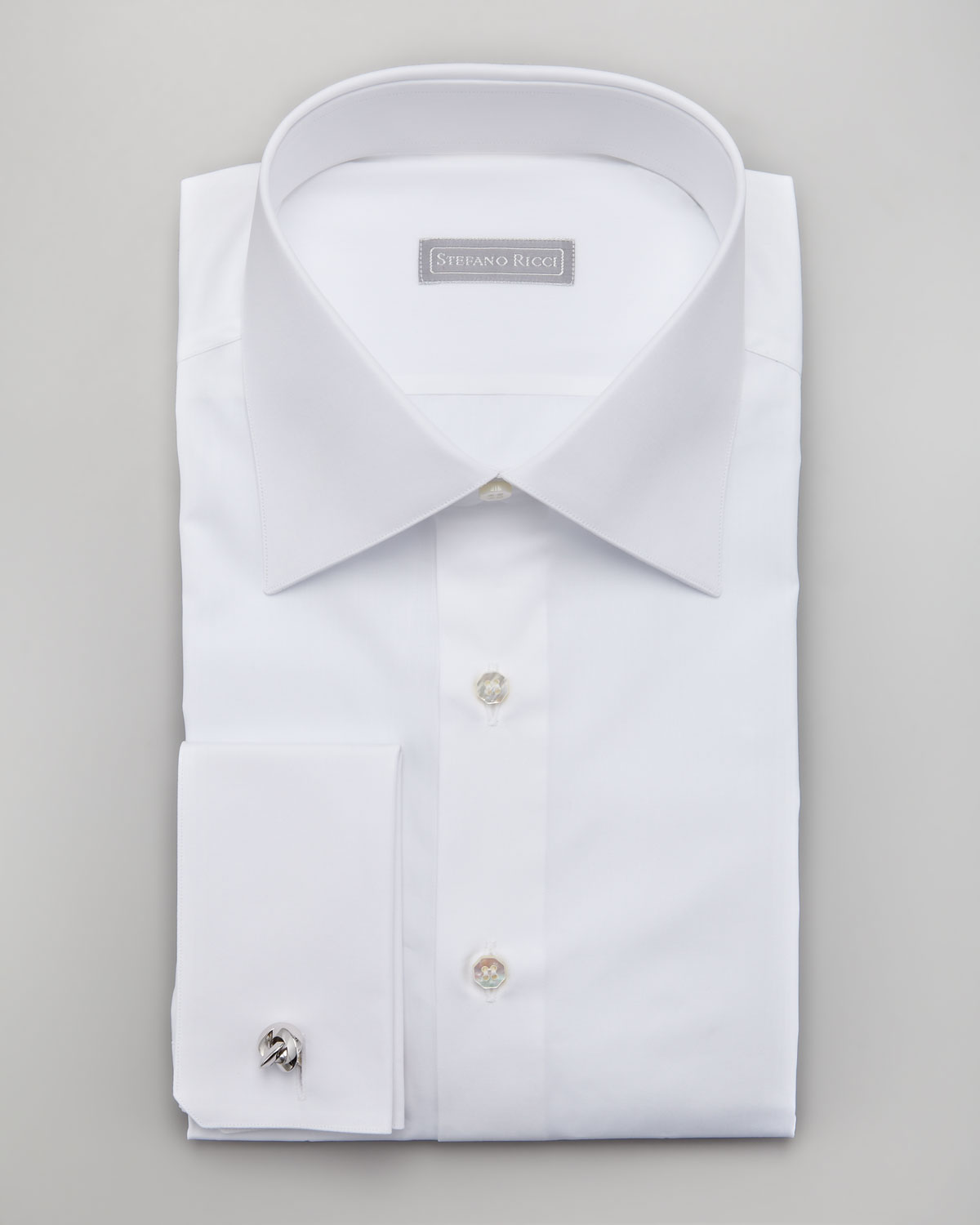 Stefano ricci basic french cuff dress shirt in white for for Mens white french cuff shirt