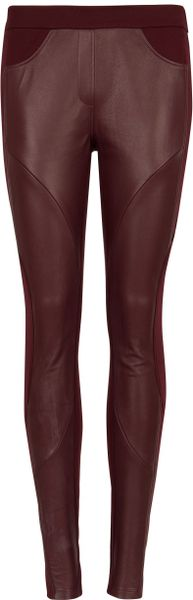 Ted Baker Foiy Leather Panel Trousers in Red