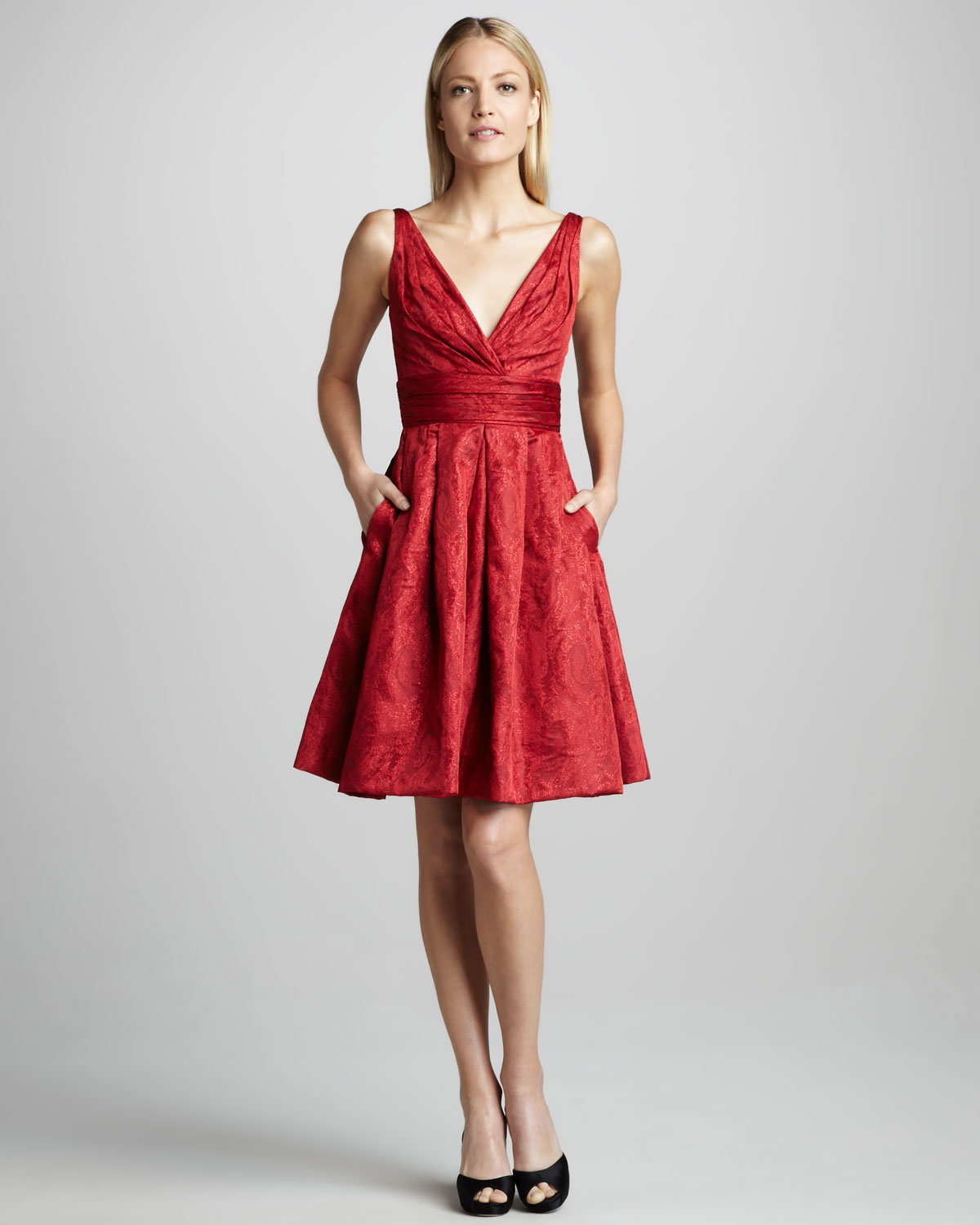 Theia Fitandflare Brocade Cocktail Dress in Red  Lyst