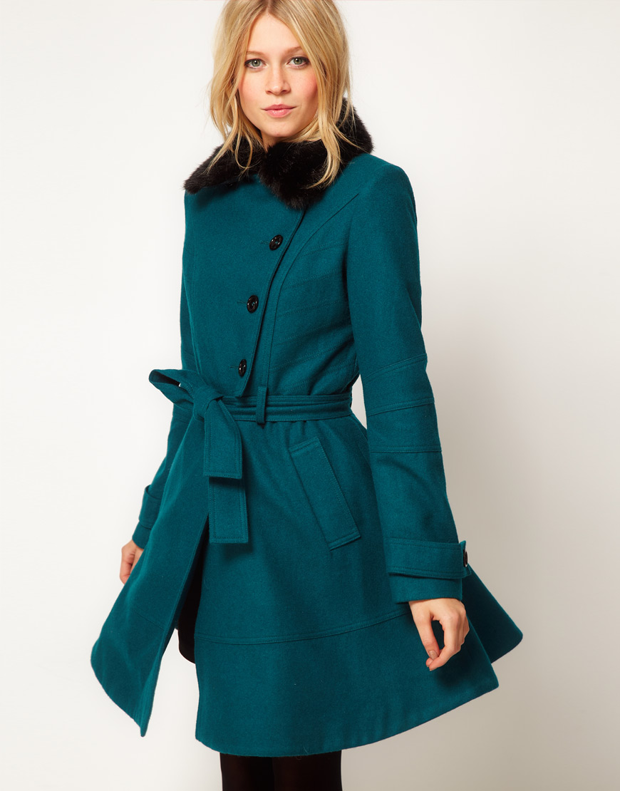 Asos Collection Asos Fur Trim Fit And Flare Coat In Teal