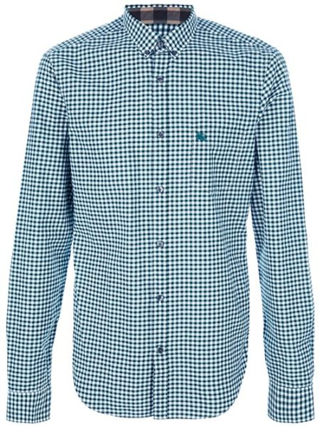 Burberry Brit Checked Print Shirt in Green for Men