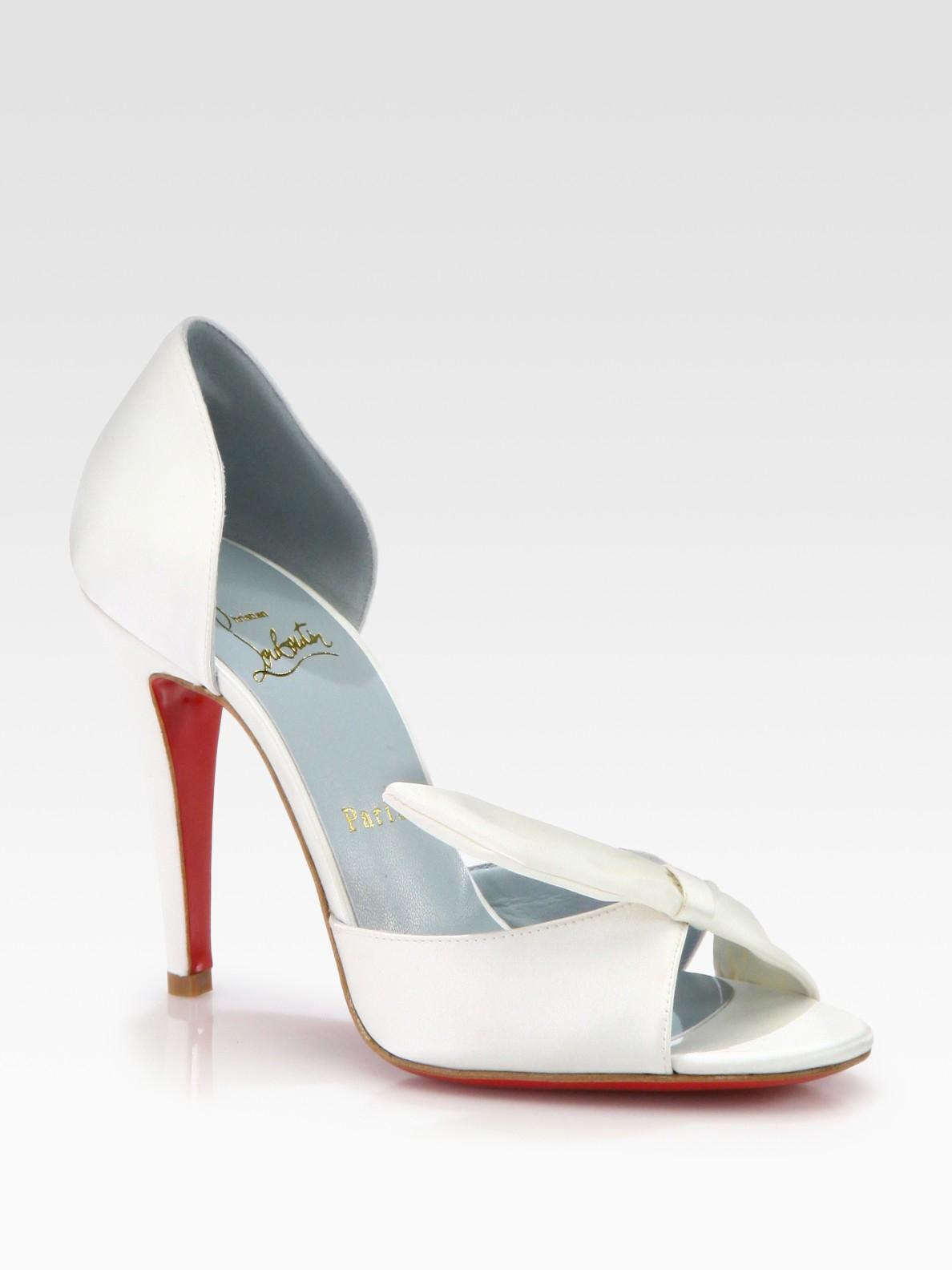 1a36a19186d3 ... discount lyst christian louboutin livrée satin bridal pump in white  d993f 3ef71