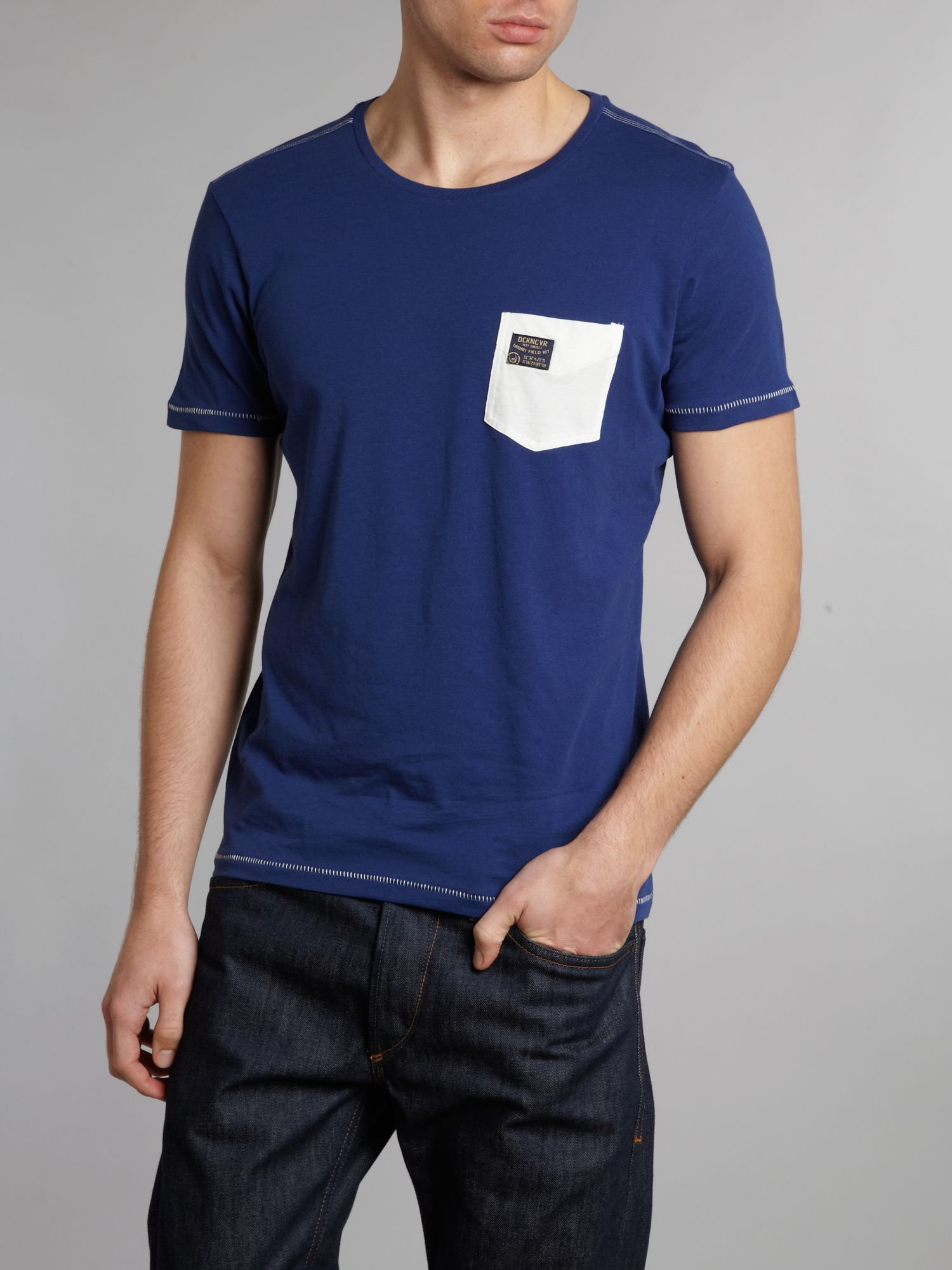Duck and Cover Contrast Pocket Crew Neck Tshirt in Navy (Blue) for Men