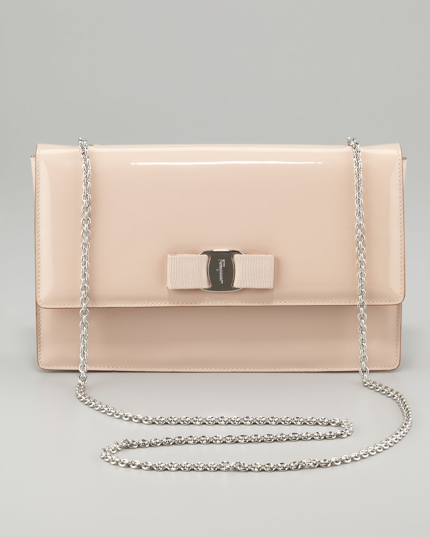 27b4fae77a08 Lyst - Ferragamo Vara Ginny Patent Flap Shoulder Bag Rose in Pink