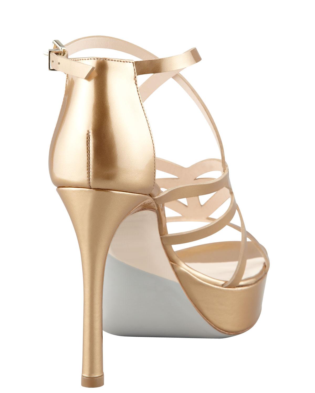 59d0094924a6 Lyst - Giorgio Armani Matte Metallic Strappy Platform Sandal Gold in  Metallic