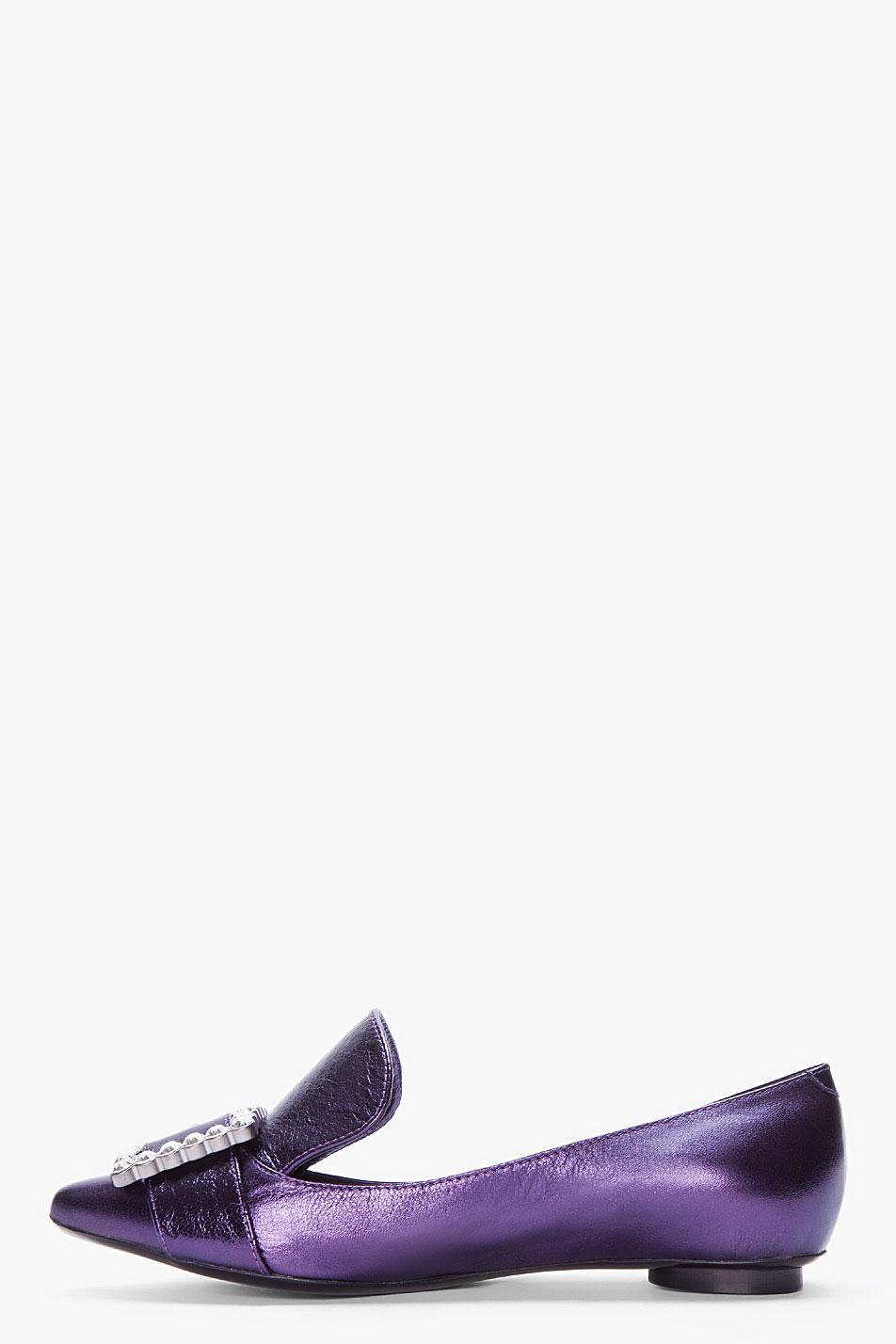 Marc Jacobs Metallic Purple Buckled Pilgrim Loafers Lyst