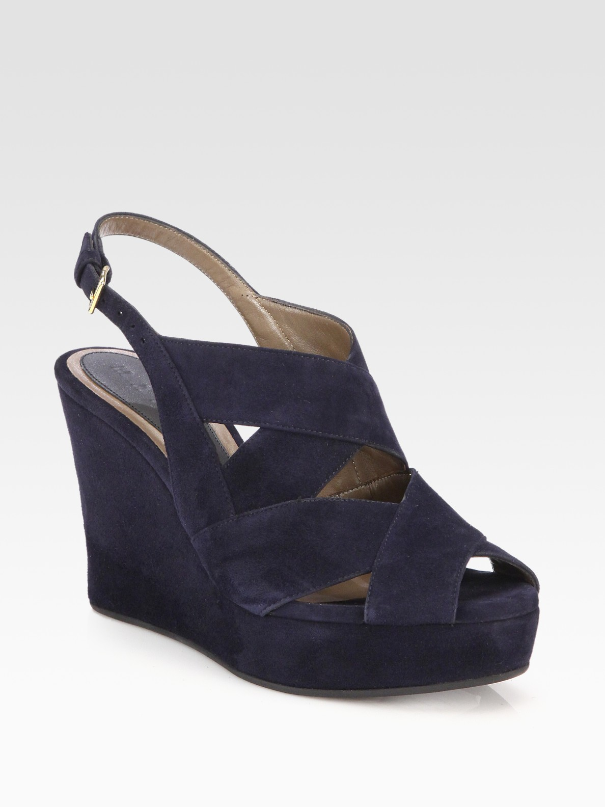 Marni Suede Banded Wedge Sandals in Blue