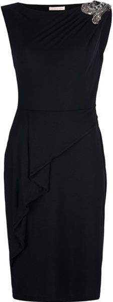 Matthew Williamson Beaded Ruched Shoulder Dress in Black