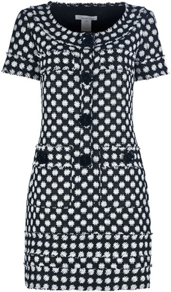 Oscar De La Renta Bouclé Silk Dress in White (black)
