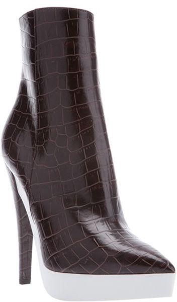 Stella Mccartney Alligator Texture Ankle Boot in Brown (alligator)