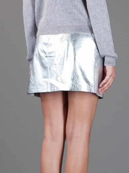 theyskens theory metallic leather skirt in silver lyst