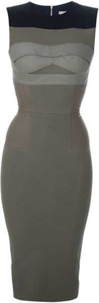 Victoria Beckham Sleeveless Pencil Dress in Khaki