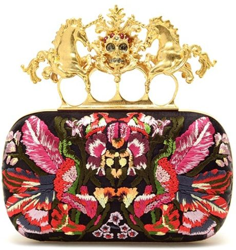 Alexander Mcqueen Embroidered Satin Box Clutch in Multicolor (multi)