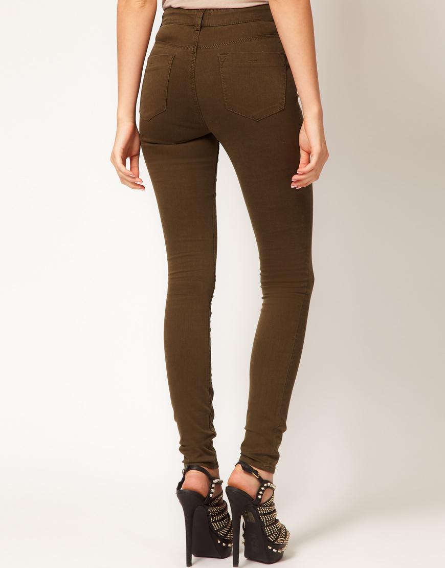 Asos Asos High Waisted Ultra Skinny Jeans In Dark Khaki 11 -2495