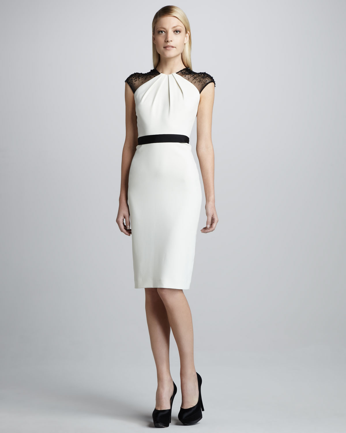 Badgley mischka Beadsleeve Belted Cocktail Dress in White  Lyst