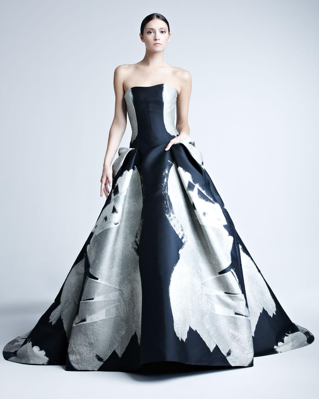 Lyst Carolina Herrera Abstractprint Jacquard Gown In Black