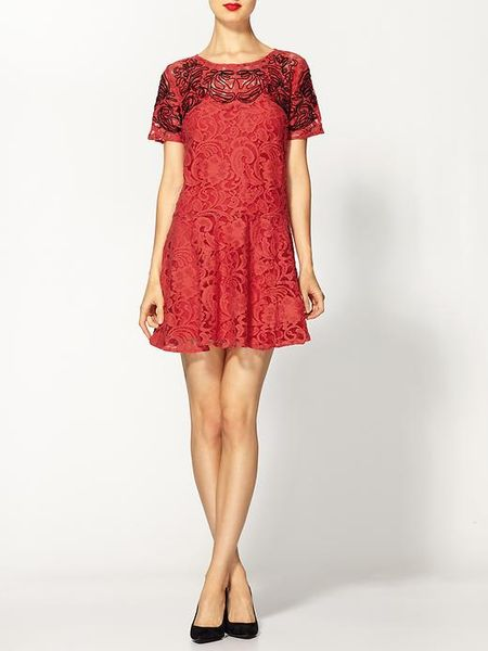 Free People Beautiful Dreamer Lace Dress In Red Cherry