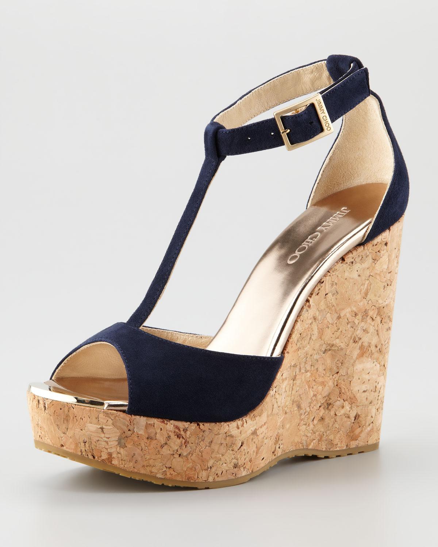 b315f55e540 Lyst - Jimmy Choo Pela Suede Cork Wedge Sandal in Blue