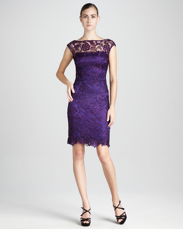 Bateauneck Lace Cocktail Dress
