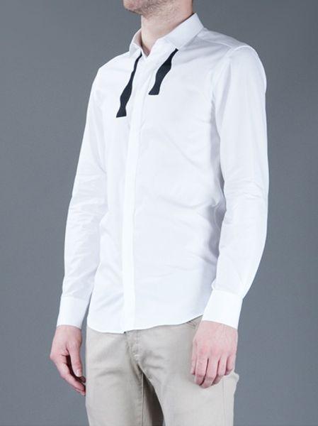 Neil barrett tuxedo style shirt in white for men lyst for Neil barrett tuxedo shirt