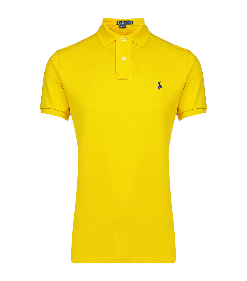 Polo ralph lauren custom fit polo shirt in yellow for men for Custom tailored polo shirts