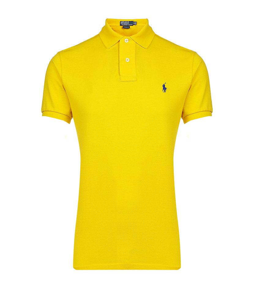 Polo ralph lauren custom fit polo shirt in yellow for men for Custom design polo shirts