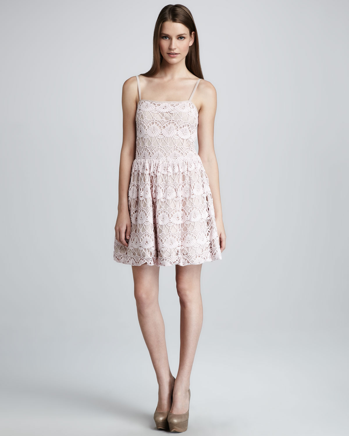 Red valentino ponte dress with lace