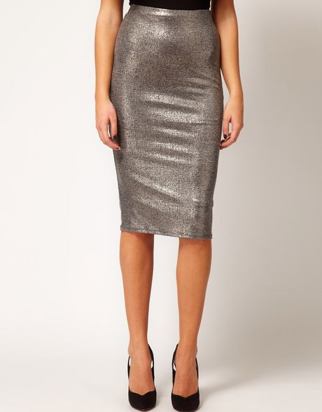 river island metallic silver pencil skirt in silver lyst
