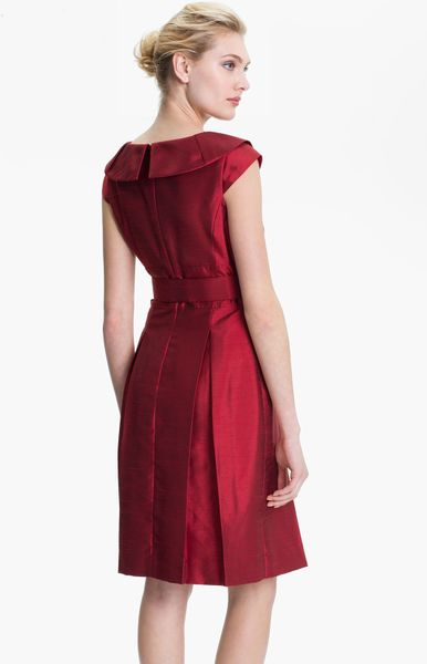 Tahari Belted Portrait Collar Fit Flare Dress In Red