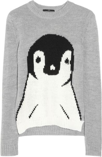 Tibi Penguin Intarsia Knitted Sweater in Gray - Lyst