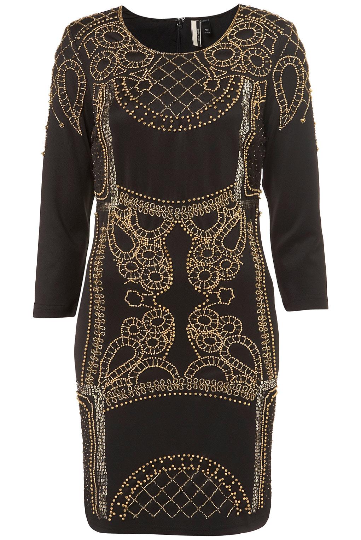 Topshop Gold Power Stud Dress In Black Lyst