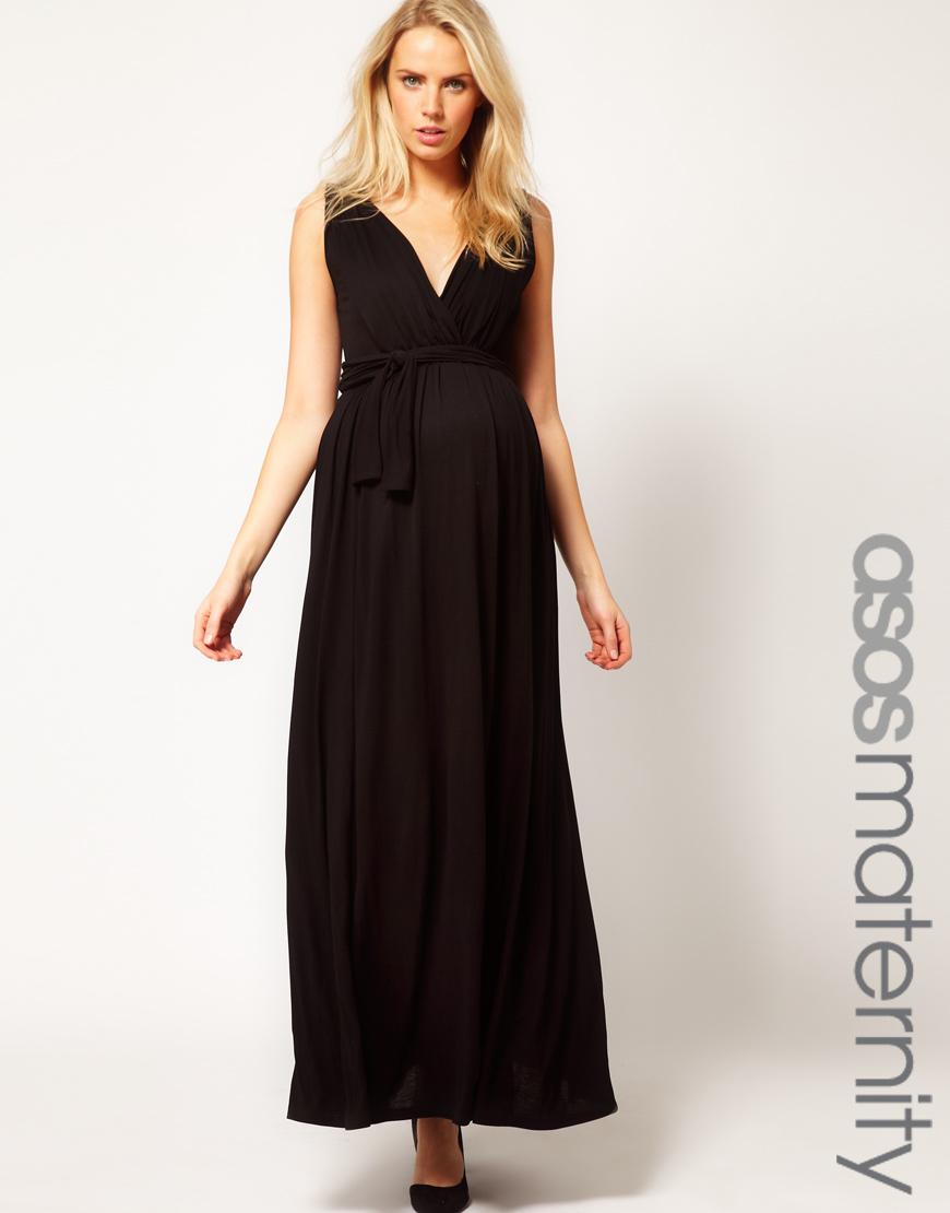 Asos Grecian Drape Maxi Dress In Black Lyst