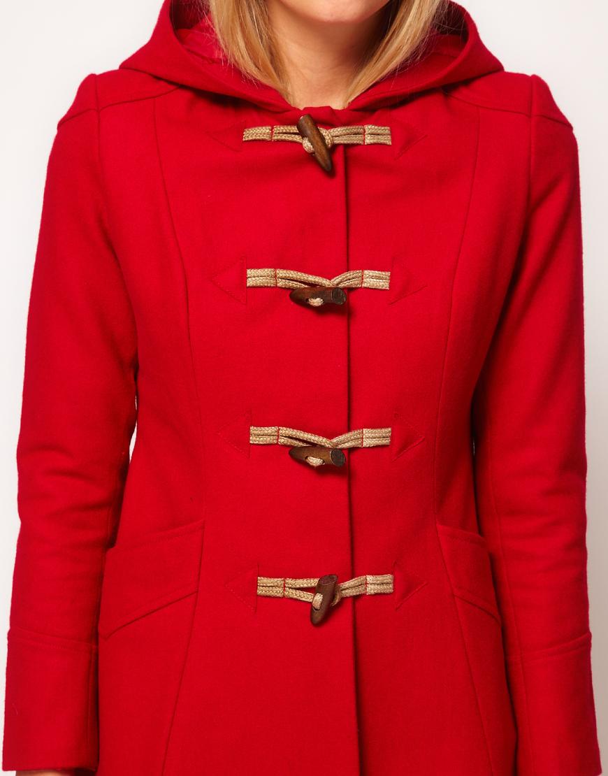 Asos Hooded Swing Duffle Coat in Red | Lyst
