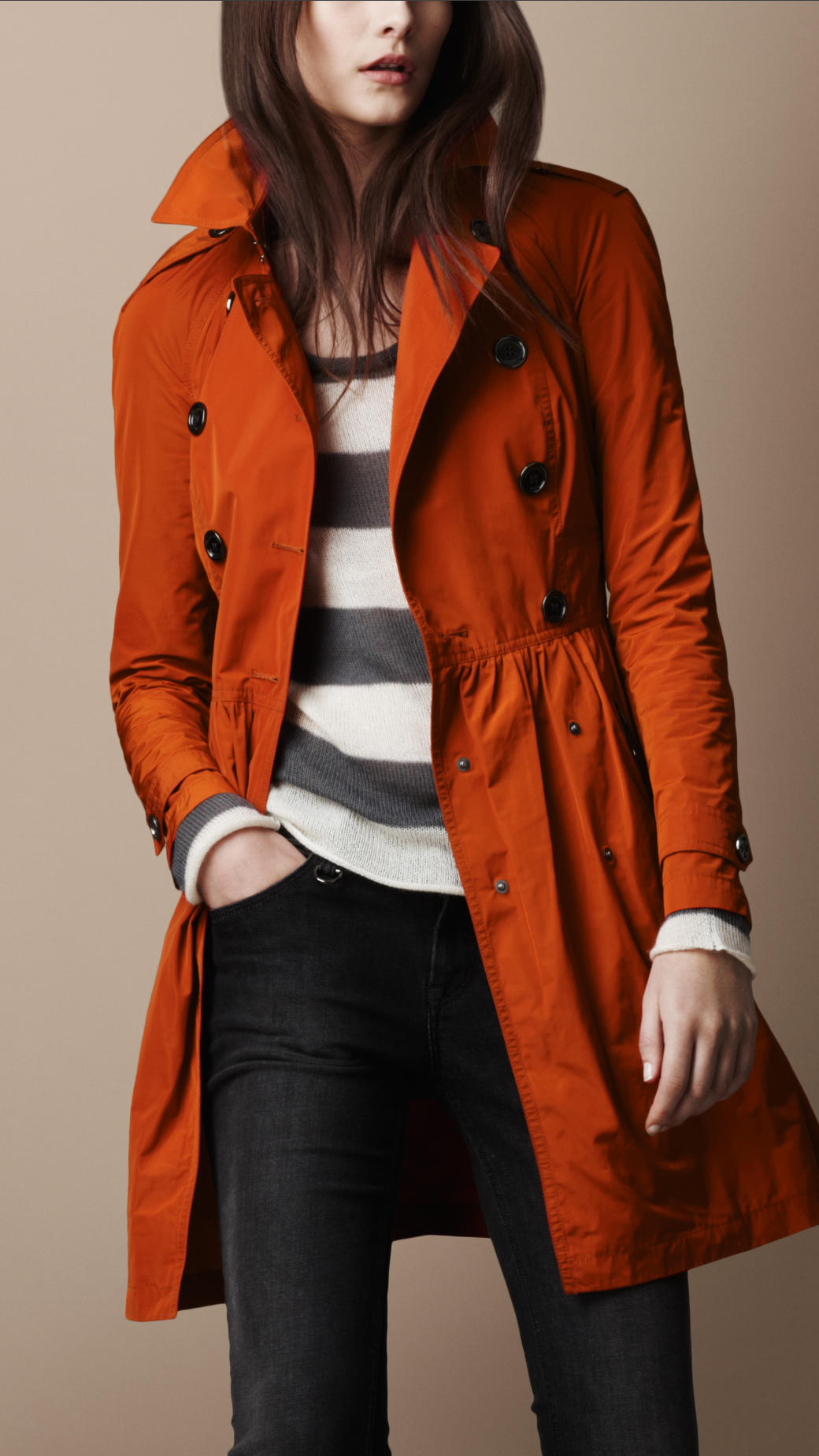 burberry brit midlength lightweight technical fabric gathered skirt trench coat in orange