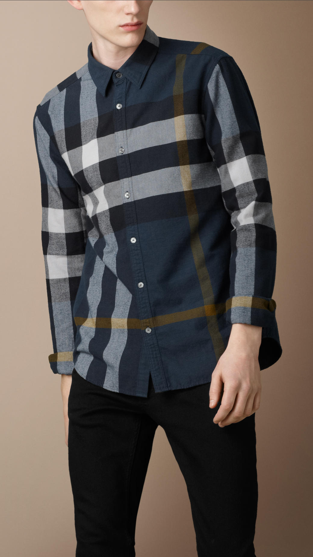 Burberry brit check flannel shirt in blue for men lyst for Burberry brit green plaid shirt