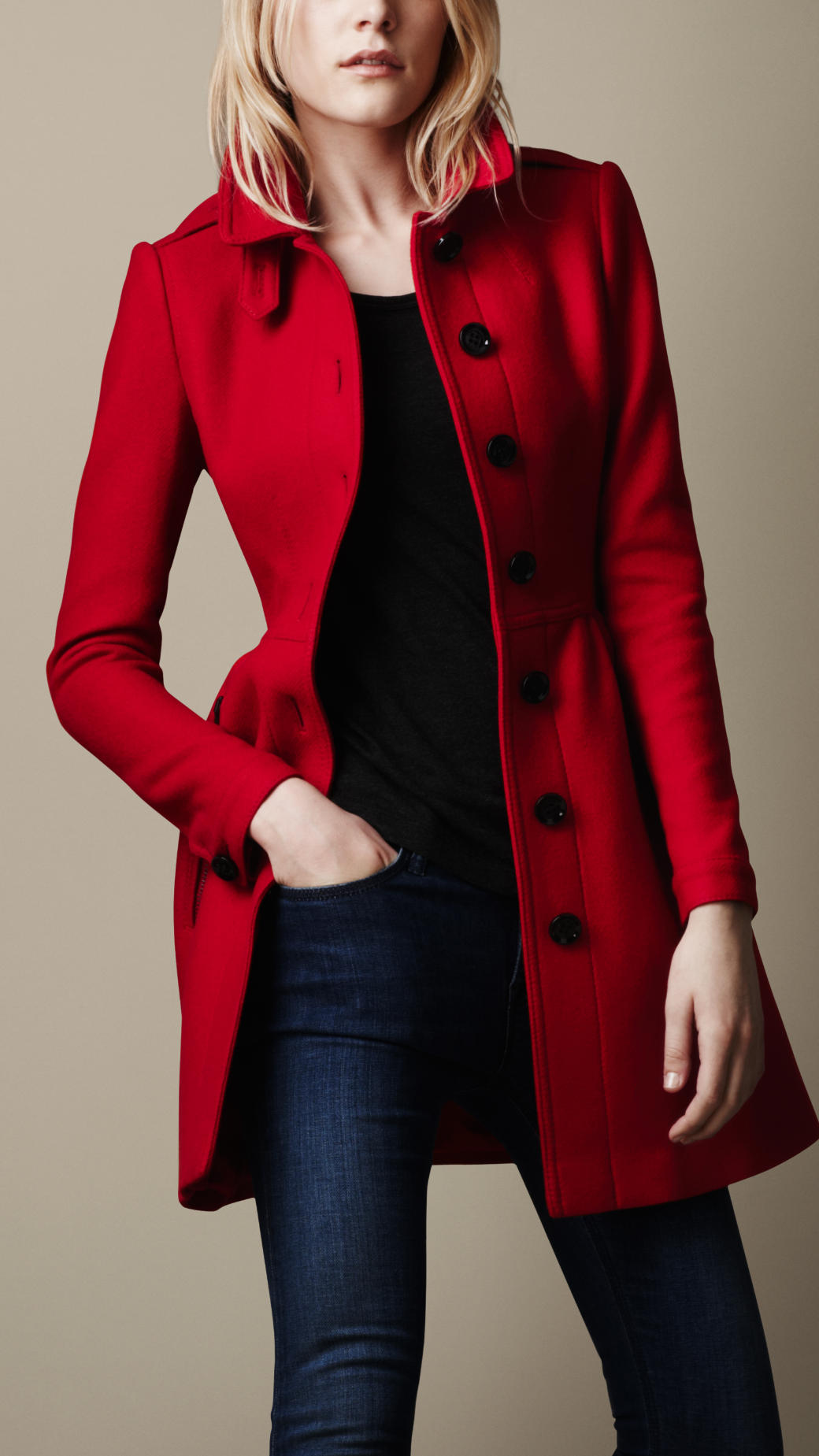 Burberry brit Wool Twill Dress Coat in Red | Lyst