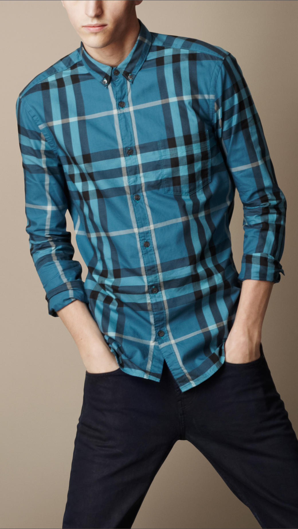 Burberry brit exploded check cotton shirt in blue for men for Where are burberry shirts made