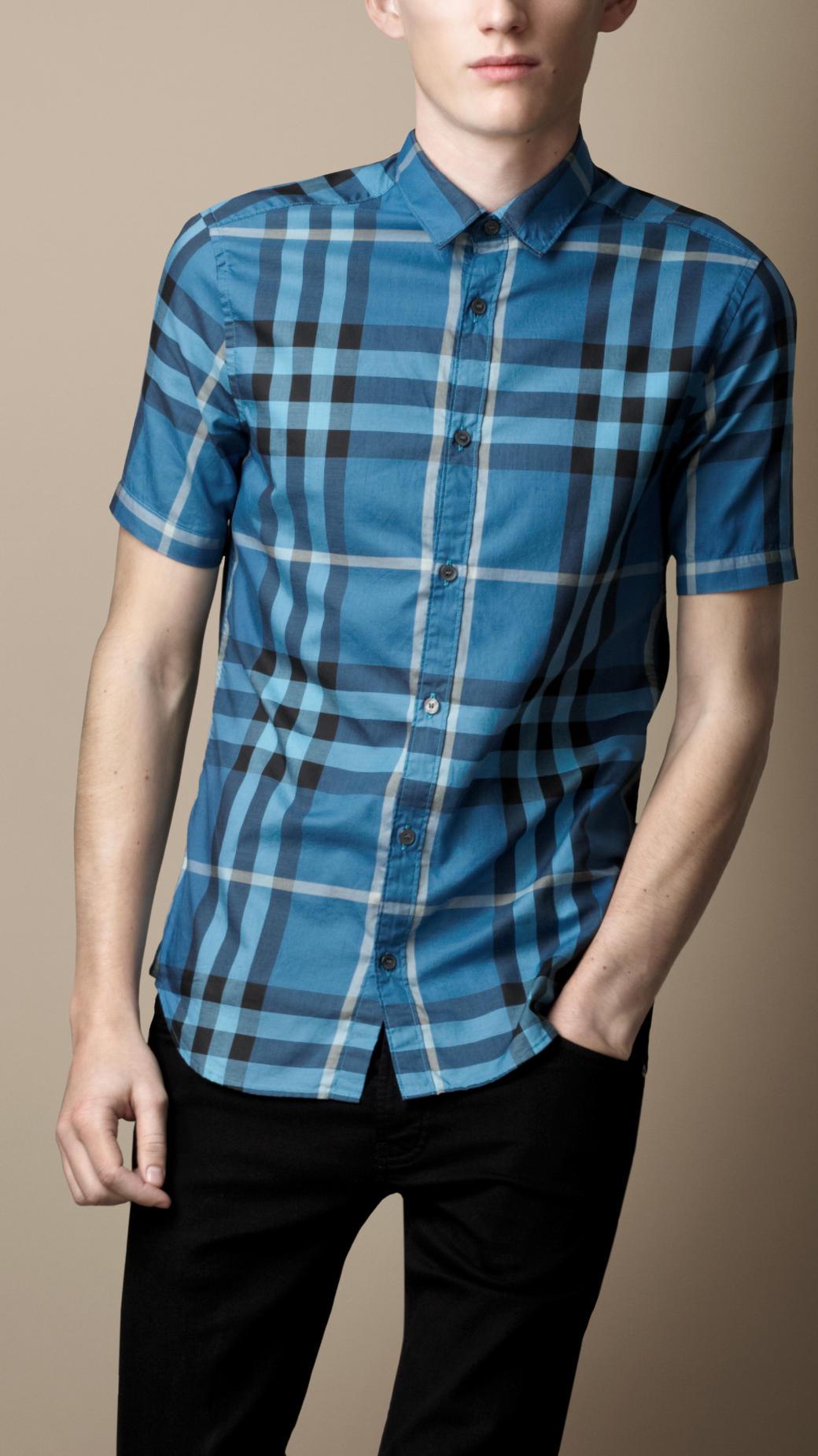 5e8ec652a55 Burberry Brit Short Sleeve Check Shirt in Blue for Men - Lyst