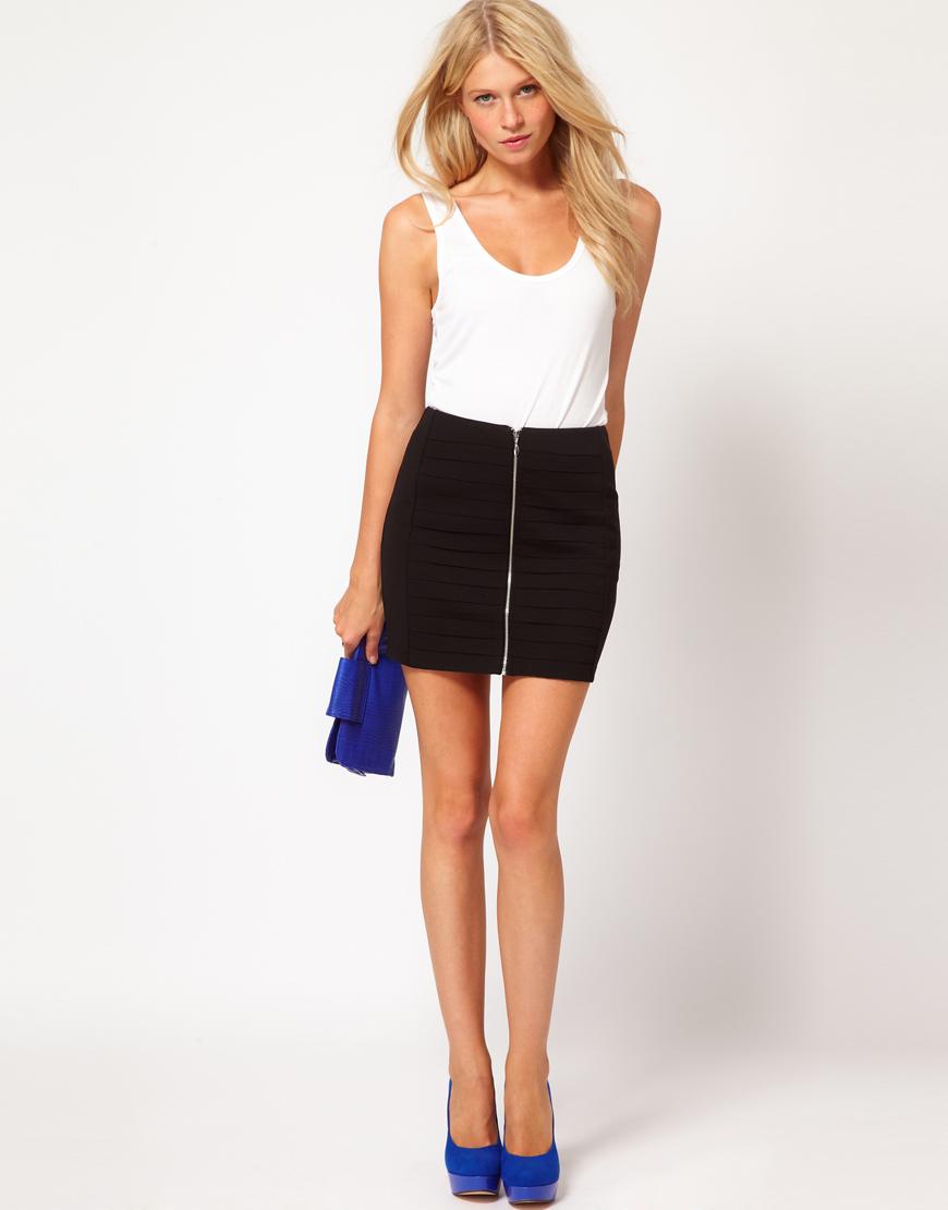 oasis zip front bodycon skirt in black lyst. Black Bedroom Furniture Sets. Home Design Ideas