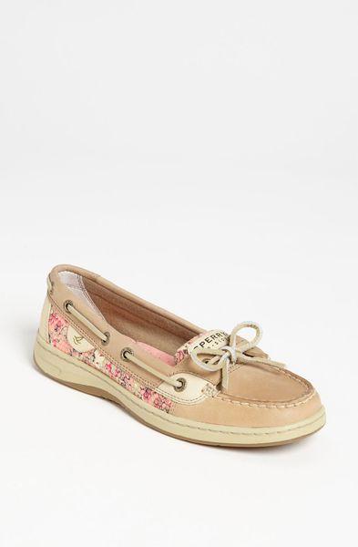 Sperry Top-sider Angelfish Boat Shoe in Beige (linen/ floral sequins