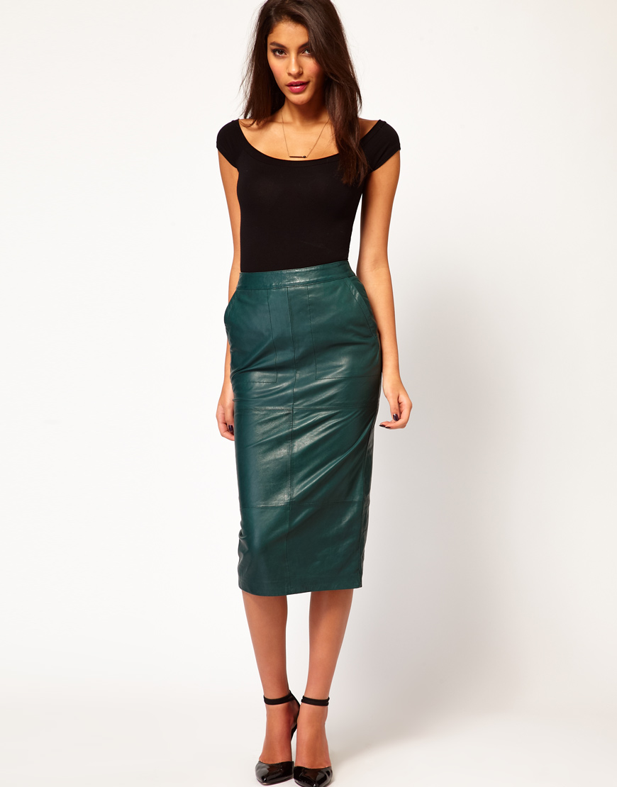 Glamorous Pencil Skirt in Leather in Green | Lyst