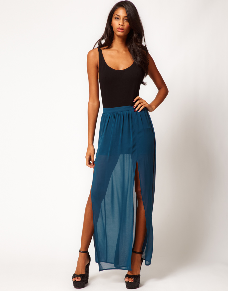 asos collection maxi skirt with split in blue