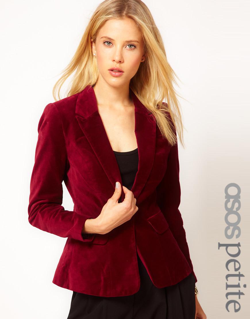 Red velvet jacket women