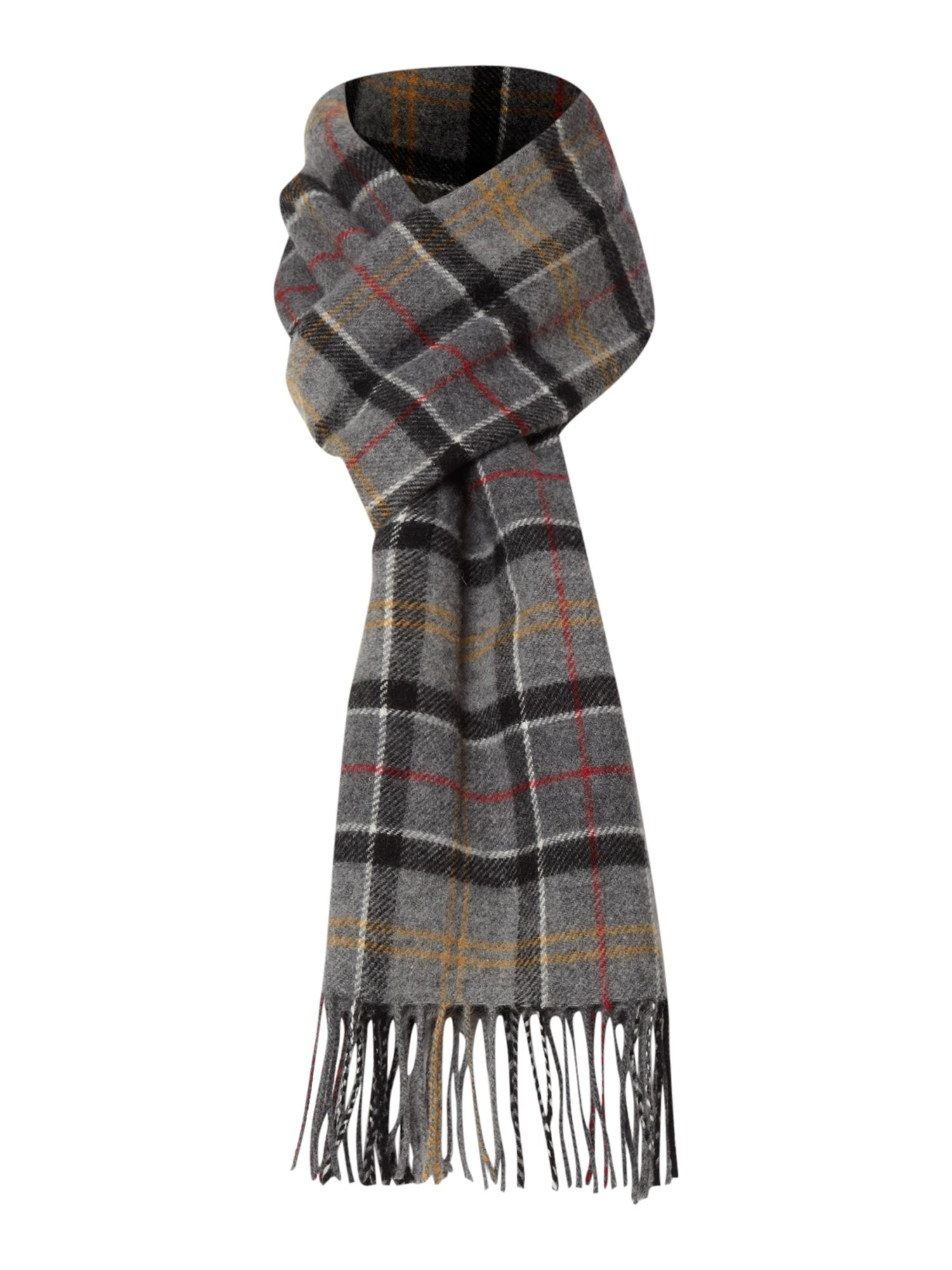barbour tartan lambswool scarf in gray for grey lyst