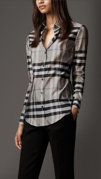Burberry check silk blend shirt in gray beat check lyst for Ladies brown check shirt
