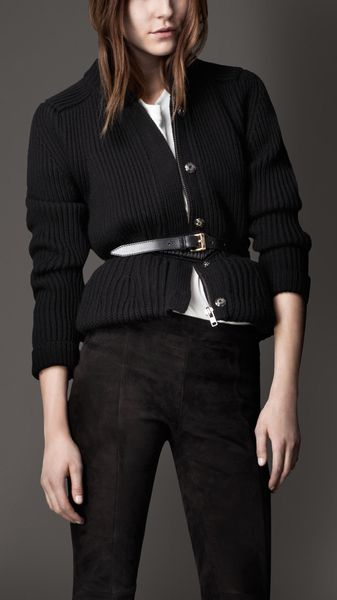 Burberry Merino Wool Peplum Jacket in Black
