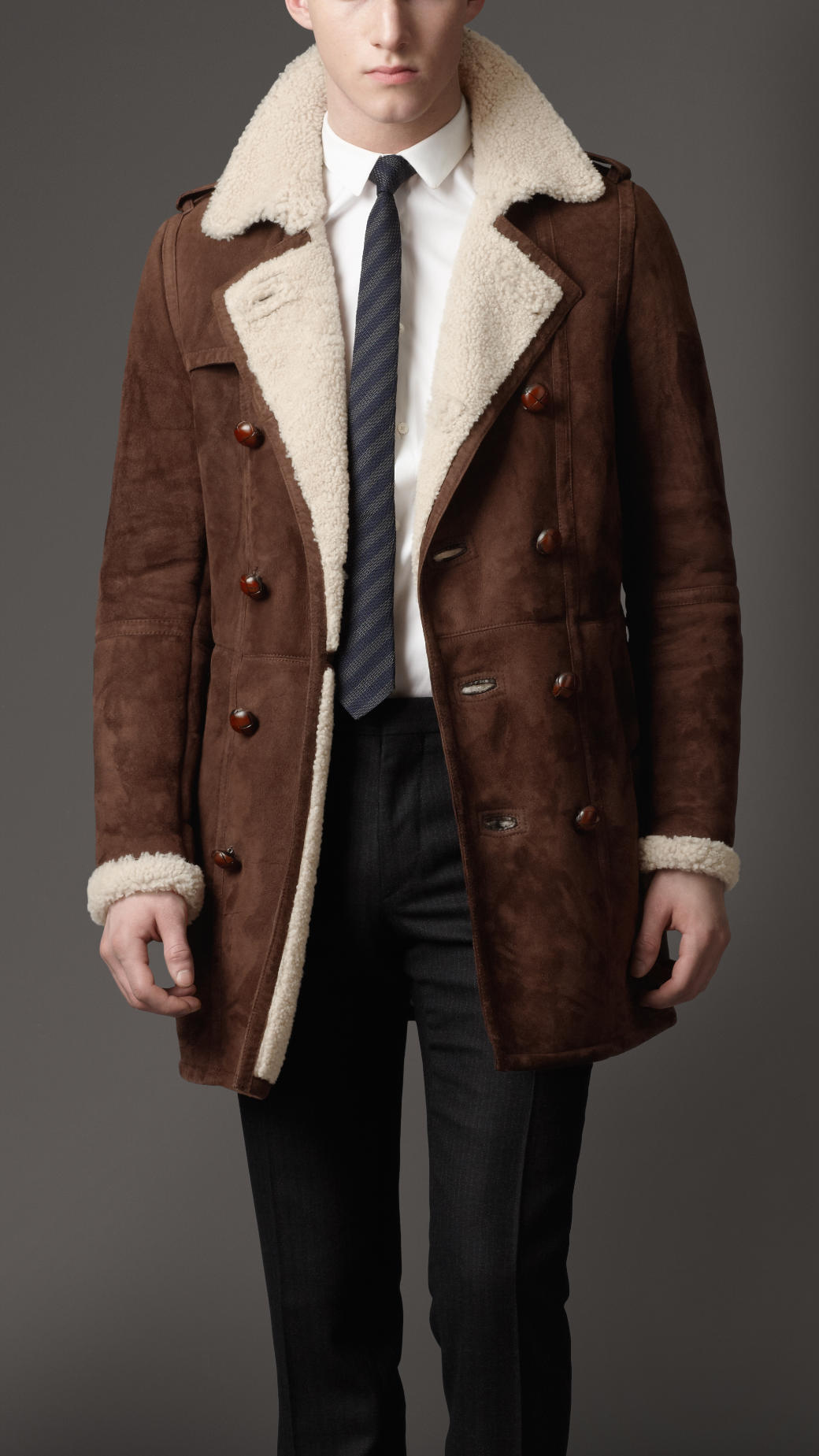 Burberry Heritage Sheepskin Coat in Brown for Men | Lyst